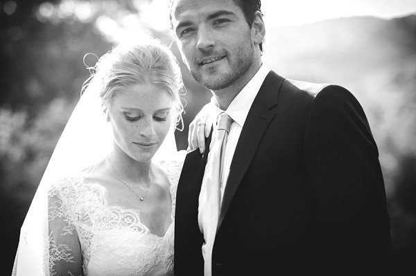 black and white bridegroom portrait