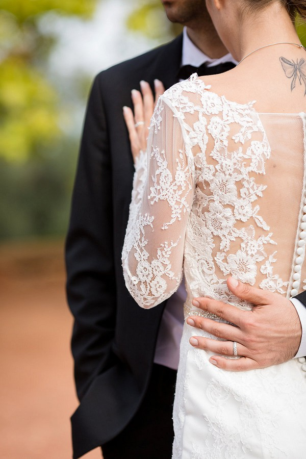 lace sleeve winter wedding gown