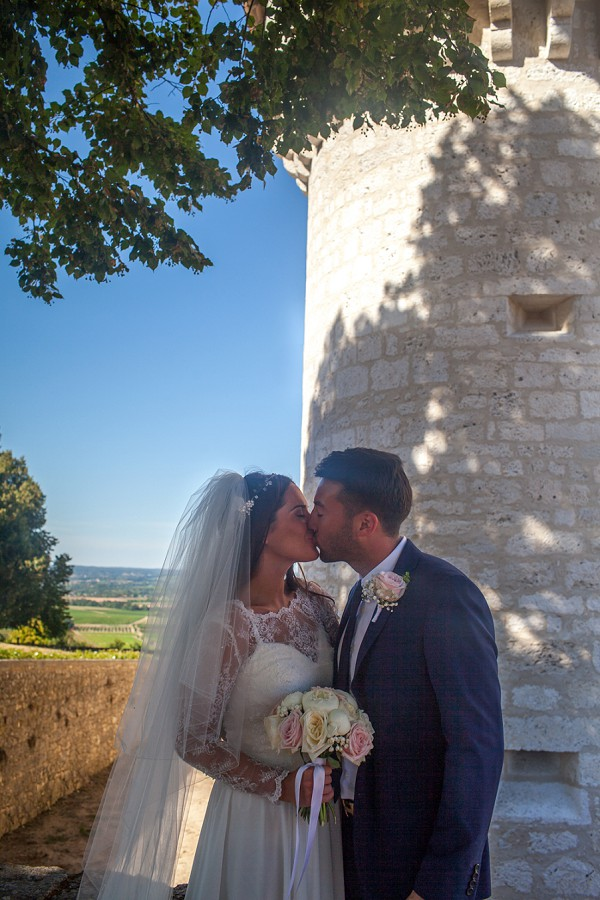 veil and lace wedding dress