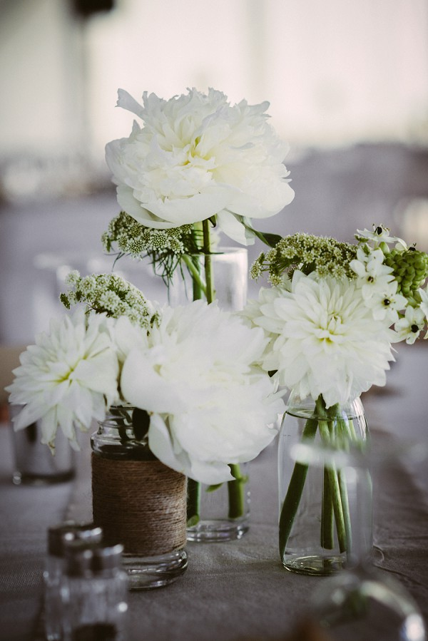 white and green wedding blooms