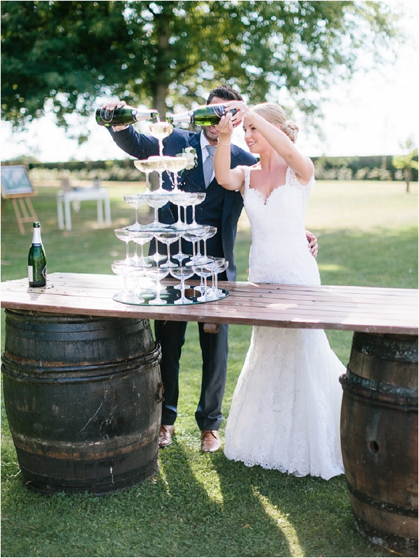 champagne tower at wedding | Image by Ian Holmes Photography