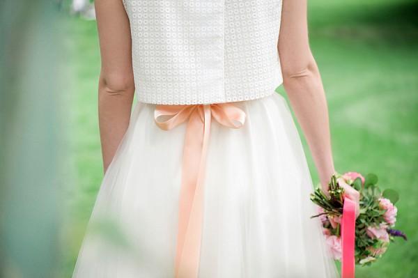 peach wedding bow