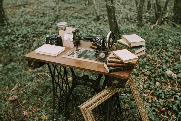 wedding day singer sewing machine