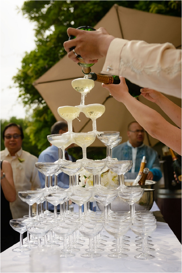 French Wedding Venue champagne tower