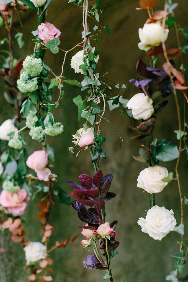 Hanging flowers wedding ceremony