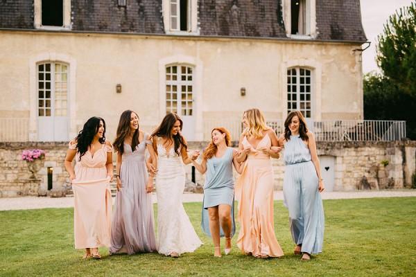Mixmatched bridesmaides dresses