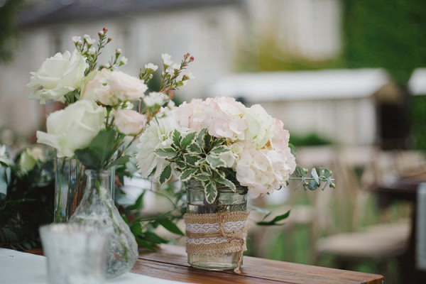 pale blooms and greenary