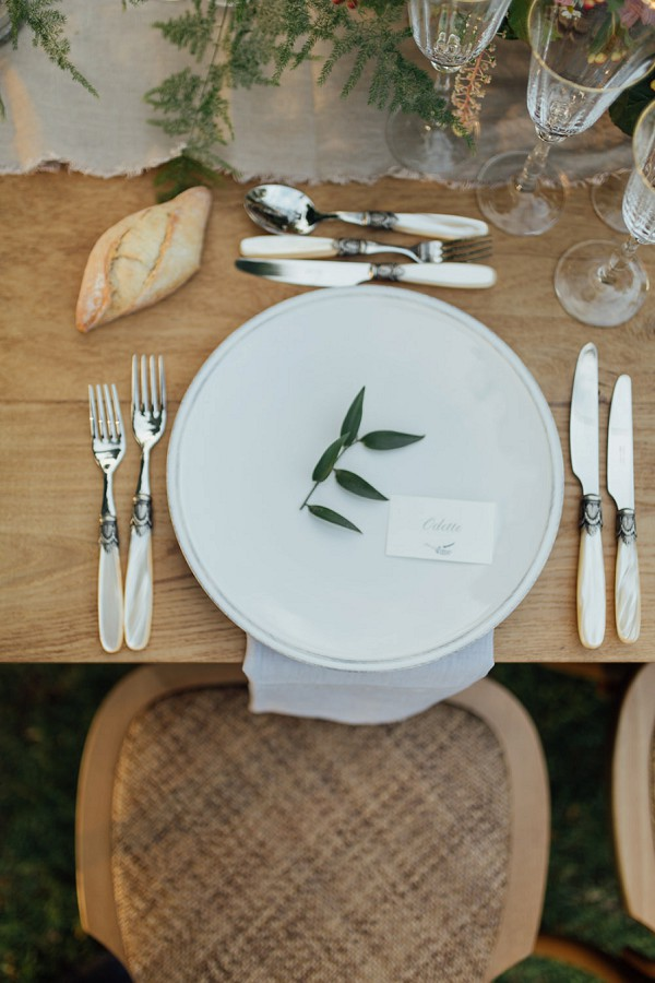 rustic olive leaf wedding setting