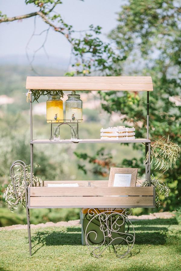 rustic wedding drinks stand