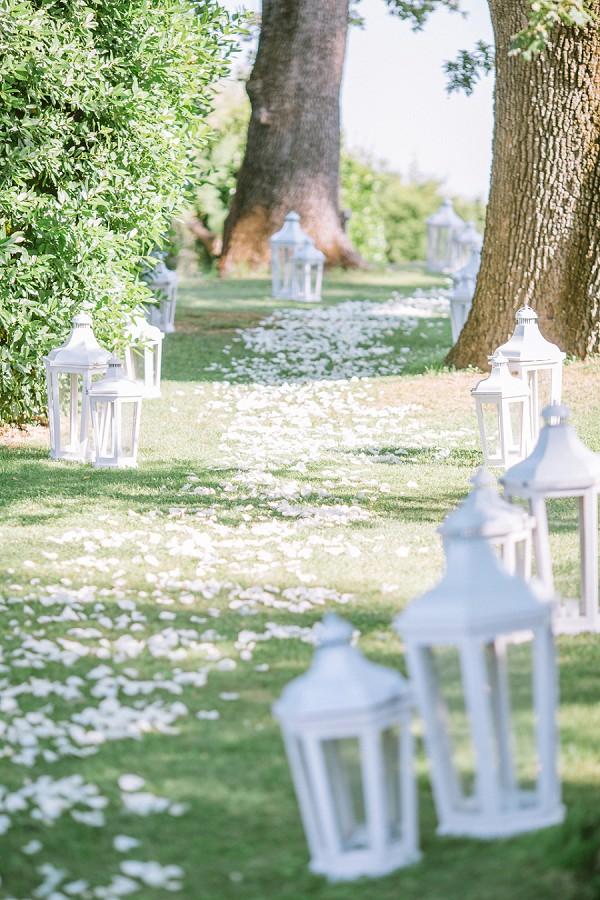 white rose petal aisle