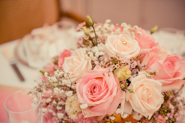 Baby pink wedding reception table