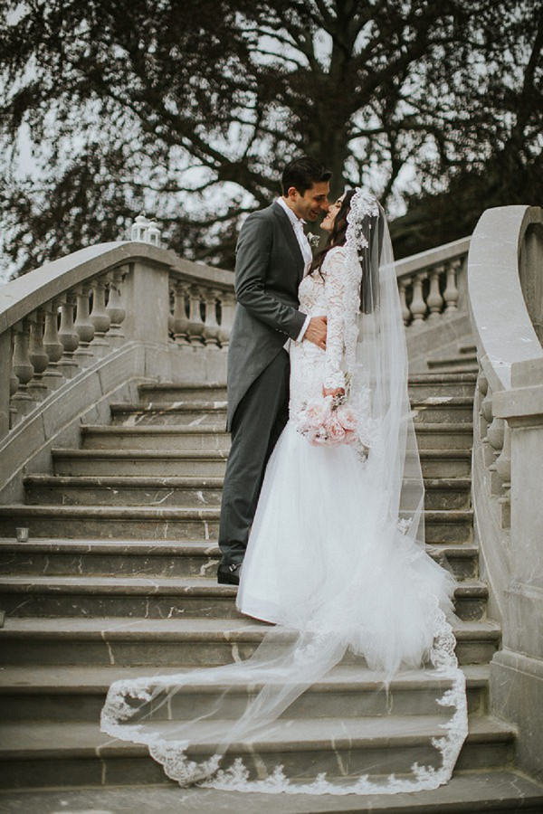 French Staircase Wedding Picture