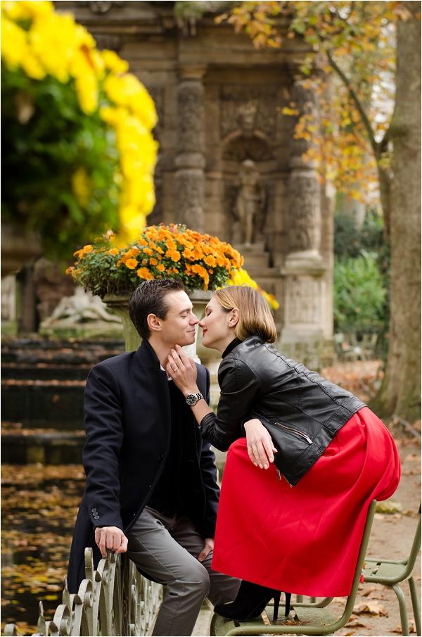 Jardin du Luxembourg engagement photoshoot, Image by Shantha Delaunay