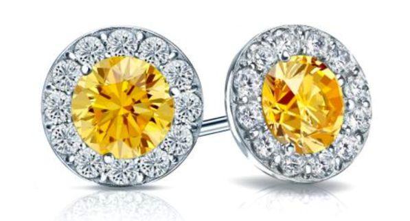 14k White Gold Round Yellow Diamond Stud Earrings