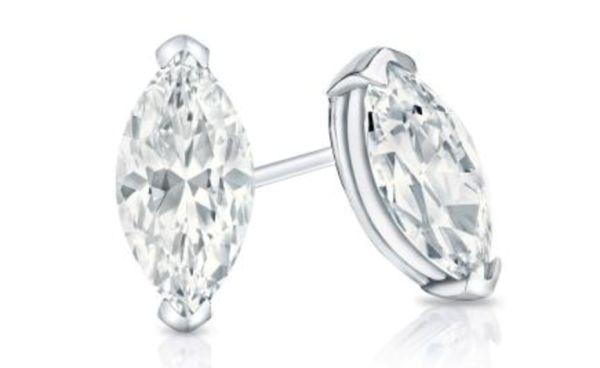 Certified 14k White Gold V End Prong Marquise Cut Diamond Stud Earrings