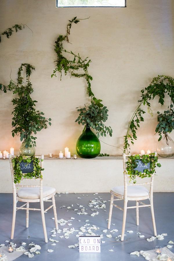 Green and White Wedding Decor