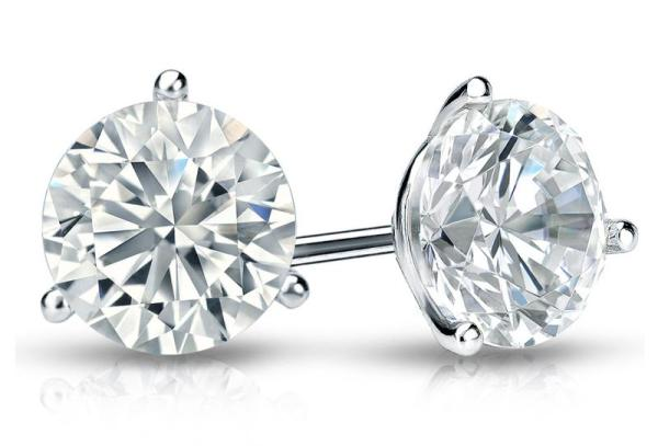 Martini Round Diamond Stud Earrings