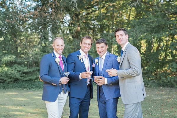 Navy groom suit and groomsmen