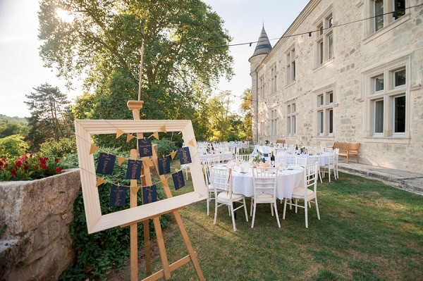 Outdoor chateau wedding reception