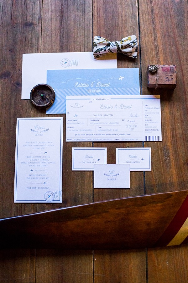 Travel inspired wedding invite suite