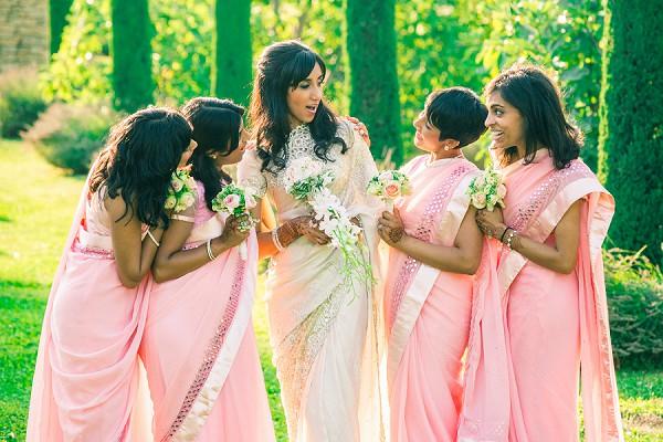 bride and bridesmaids saree