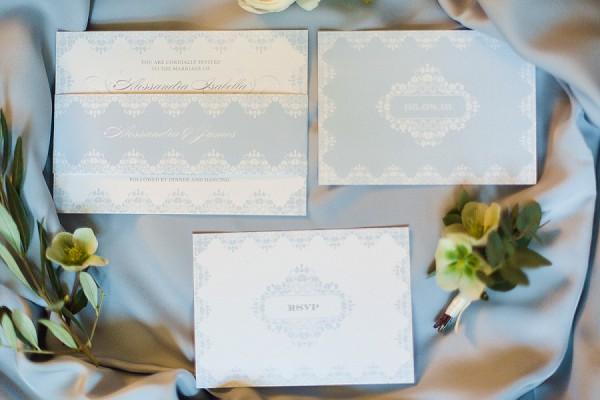 delicate lace wedding invitation suite