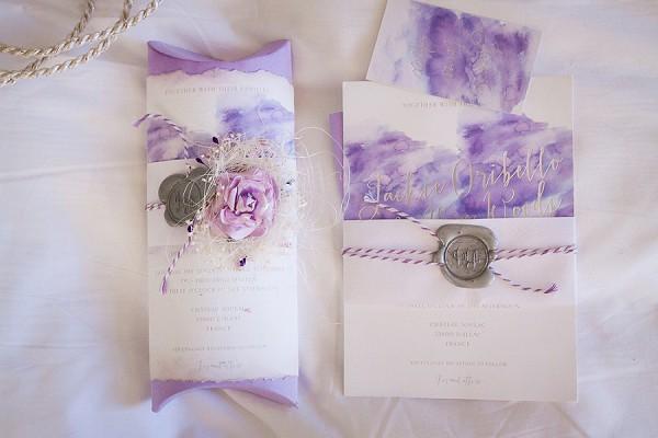 purple wedding invites