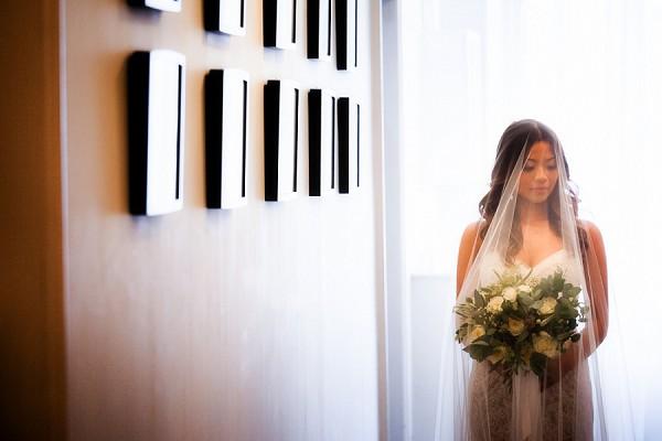 sheer wedding veil shot