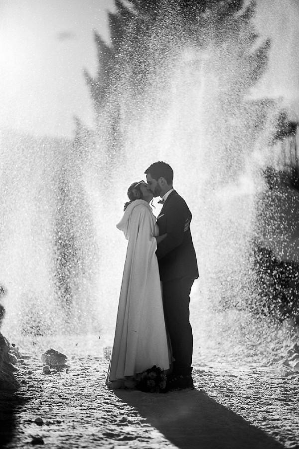 Artistic snow wedding photography