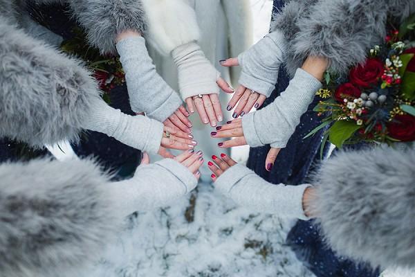 Bride and bridesmaid gloves