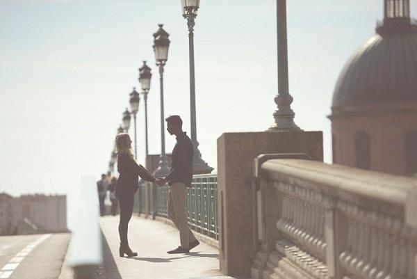 Toulouse Bridge Engagement Photo