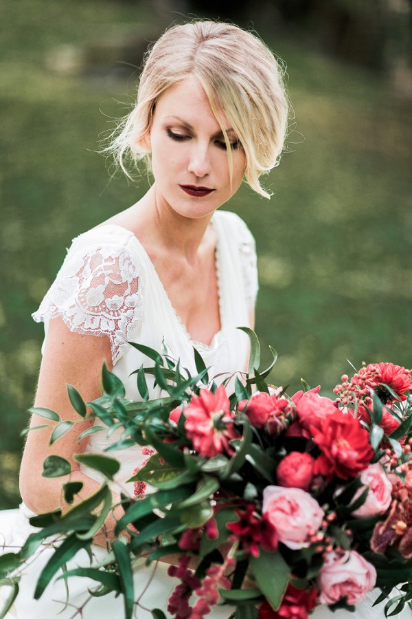deep red lipstick bride