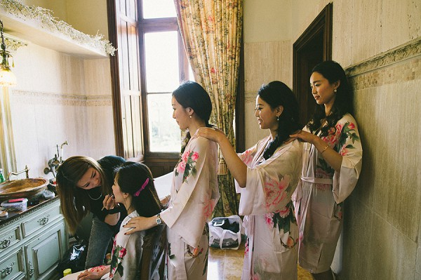 floral bridesmaid dressing gowns