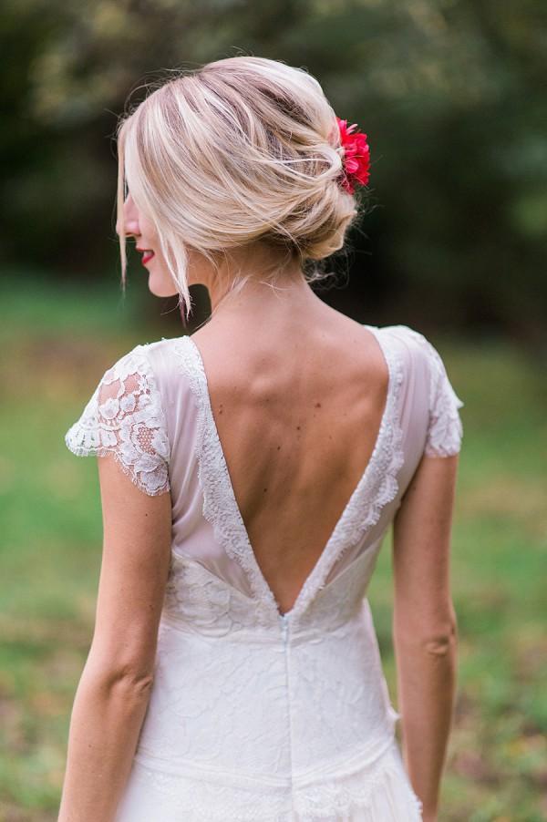 low cut back wedding gown