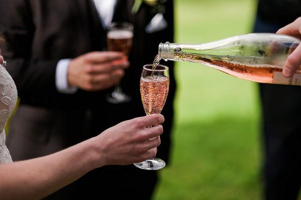 pink champagne wedding reception