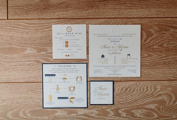 simple design wedding invite suite