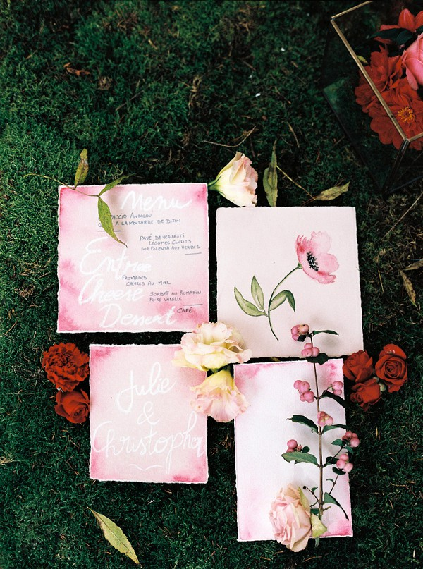 water colour wedding stationary