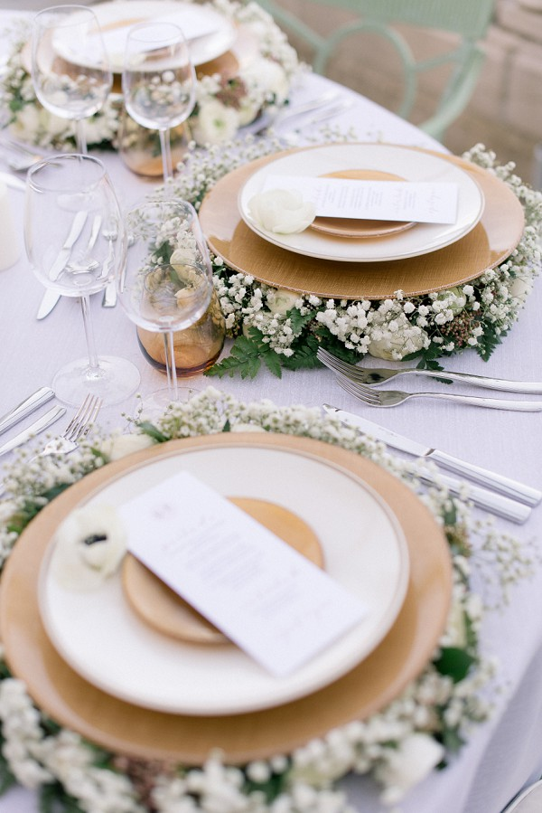 Floral dinner place settings