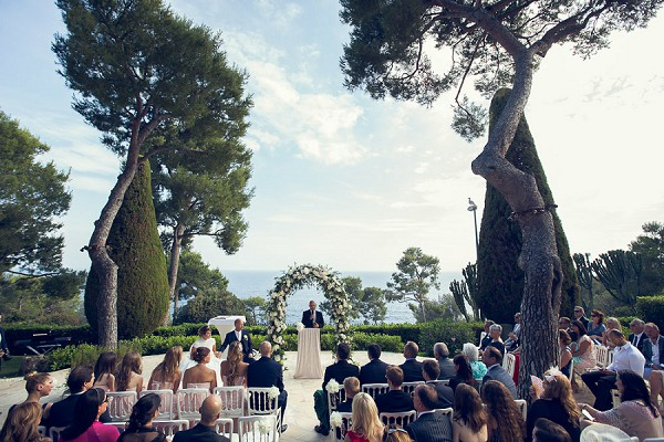 Outdoor cap ferrat wedding ceremony