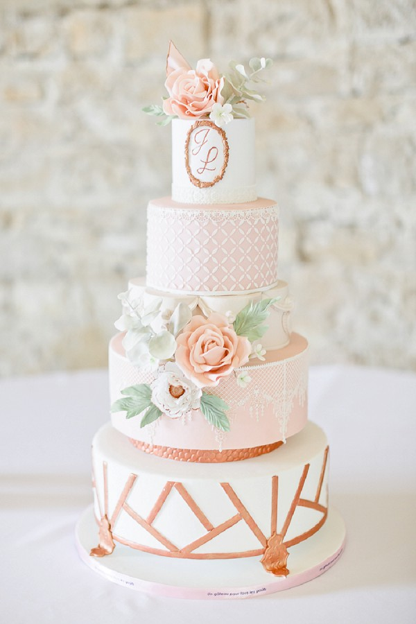 Stunning rose gold wedding cake