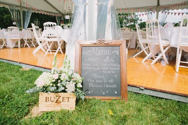 chalk board menu wedding