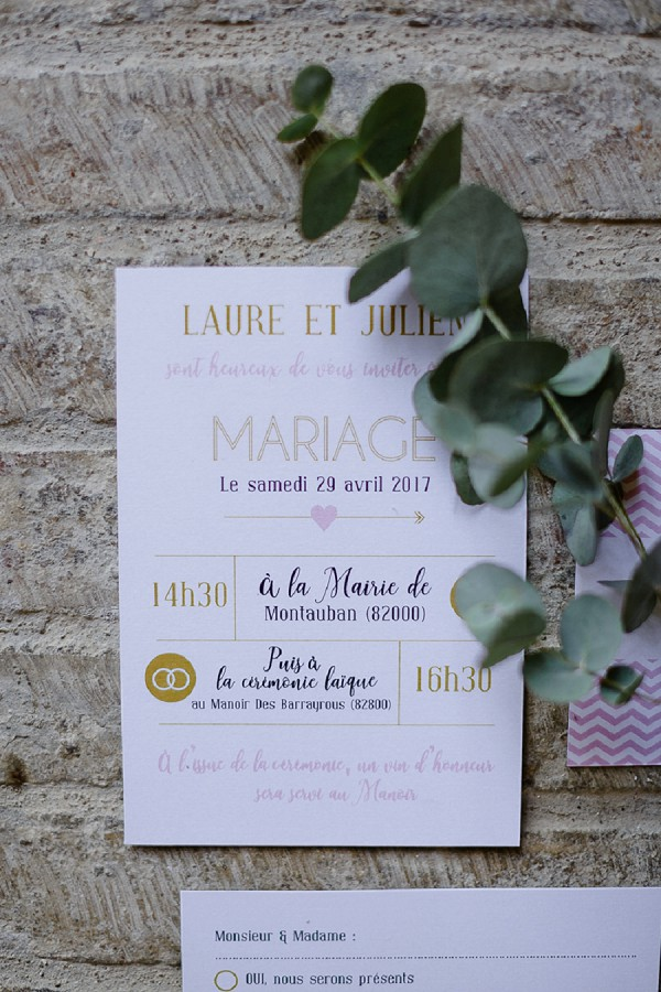 gold and pink wedding stationary