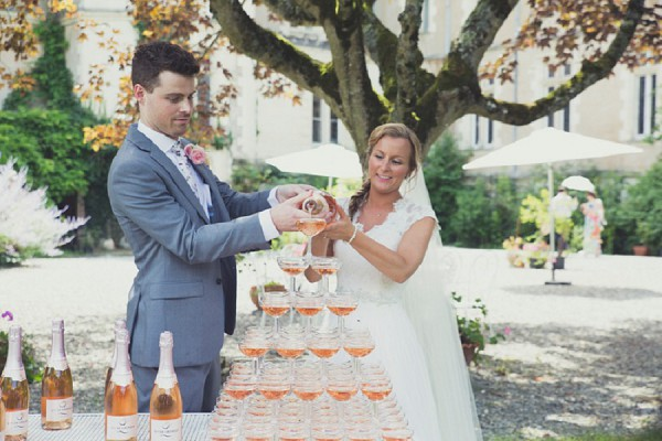 pink champagne wedding tower