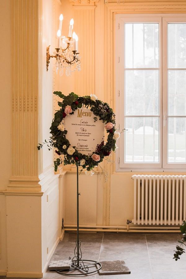 wreath wedding menu