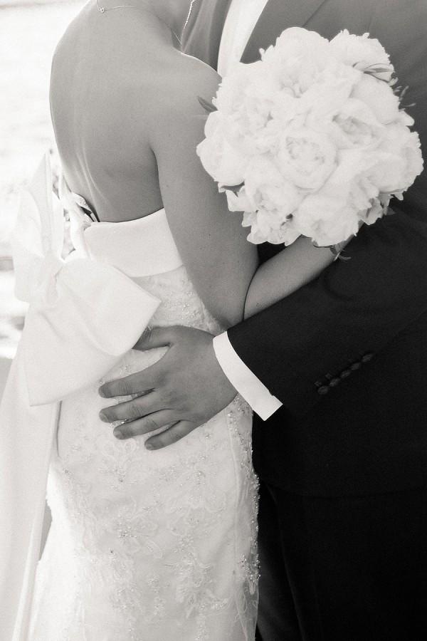 elegant black and white wedding photo