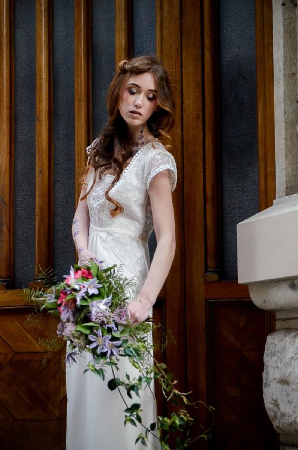 elegant long hair wedding style