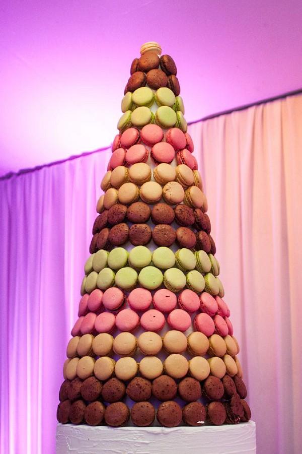 large macaron wedding tower