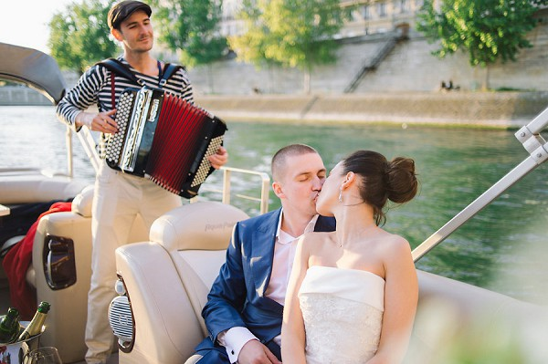 private boat ride bride and groom