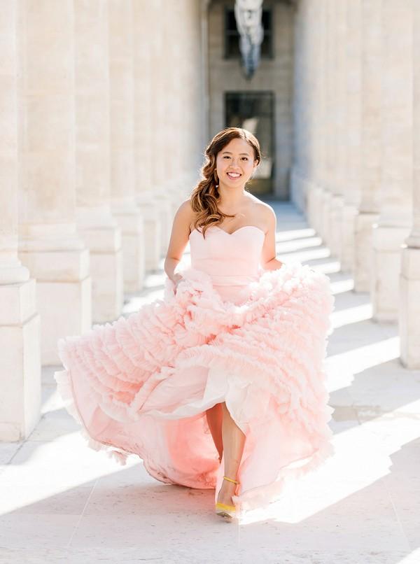 Pink elopement dress