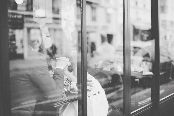 romantic couple paris cafe